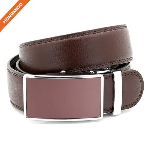 Hongmioo TB 1494 Formal Brown Cow Split Leather Ratchet Men Business Leather Belt