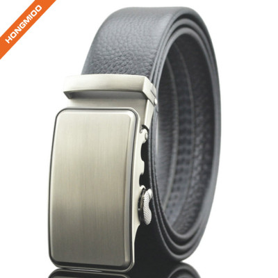 Hongmioo TB1493 Brush Antique Silver Side Release Buckle Men's Dress Black Ratchet Belt