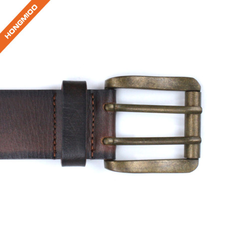 Hongmioo HT-007 Double Pin Buckle Full Grain Leather Belt for Daily Wear