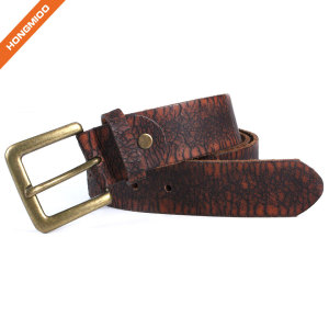 Hongmioo HT-013 Brass Buckle Dark Brown Full Grain Leather Leisure Belt