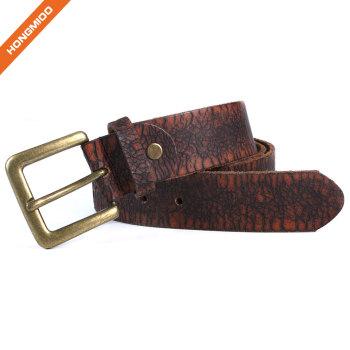 Hongmioo HT-013 Brass Buckle Dark Brown Full Grain Leather Leisure Belt