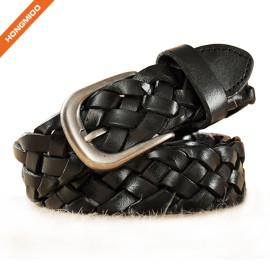 Hongmioo Black Full Grain Leather Braided Men's Leisure Belt