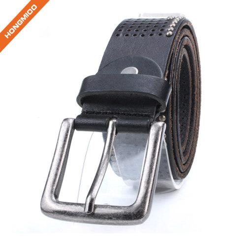 Mens Retro Design Top Grain Strap Pin Buckle Rivet Belt