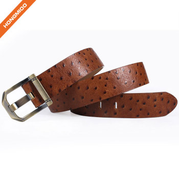 Gentleman Daily Accessory Brown First Layer Cowhide Belt Vegetable Tanned Leather Strap