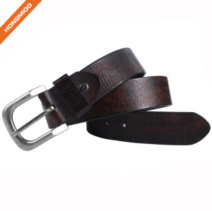 Business Style Zinc Alloy Buckle Belt Cowhide Leather Mens Belt