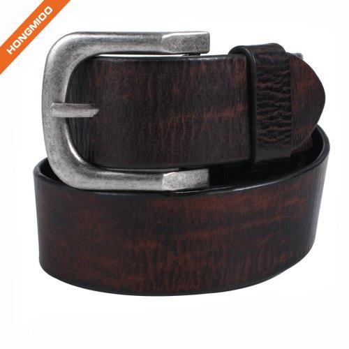 Business Style Zinc Alloy Buckle Belt Cowhide Leather Mens Belt