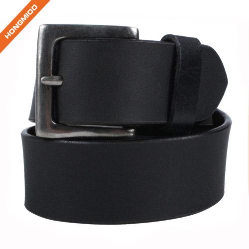 Concise Design Plain Black Genuine Leather Belt Wide Size Men Waist Belt