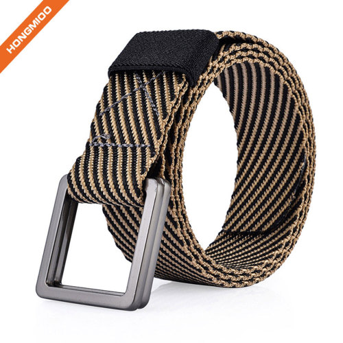 Fashion Woven Nylon Belt For Men With Plastic Buckle