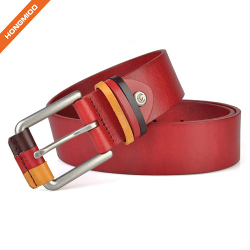 Hongmioo Style Zinc Alloy Buckle Belt Cowhide Leather Men Belt