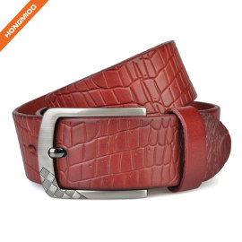 Hongmioo TB1730 Wholesale Zinc Alloy Buckle Corocodile Styles Full Grain Men Luxury Leather Belt for Male