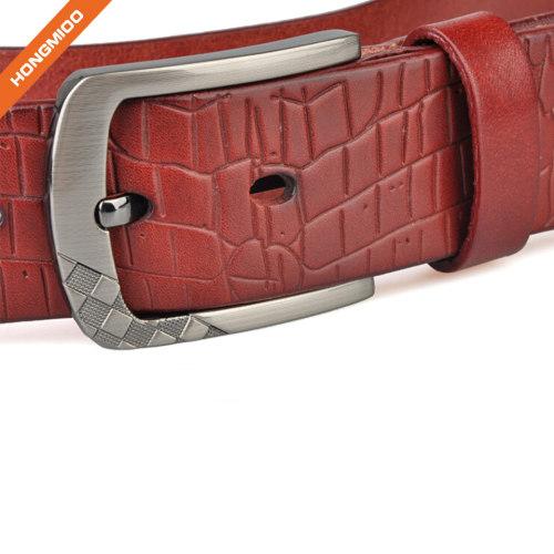 Hongmioo TB1730 Wholesale Zinc Alloy Buckle Corocodile Styles Full Grain Men Luxury Leather Belt for Male