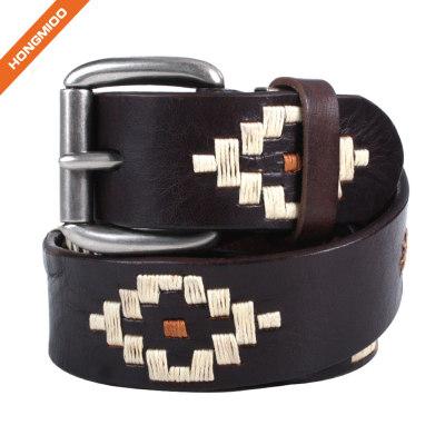 Hongmioo HT022 Wholesale Zinc Alloy Buckle Full Grain Men Luxury Handmade Leather Belts for Men