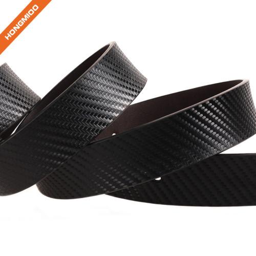 Hongmioo Shining Metal Reversible Buckle Split Leather Waistband Embossed Pattern Strap