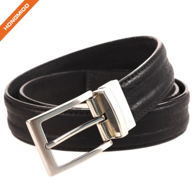 Mens Dress Belt Genuine Leather With Gold Rotated Pin Buckle