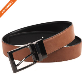 Mens Brown Belt Reversible Cow Skin Leather Removable Black Buckle