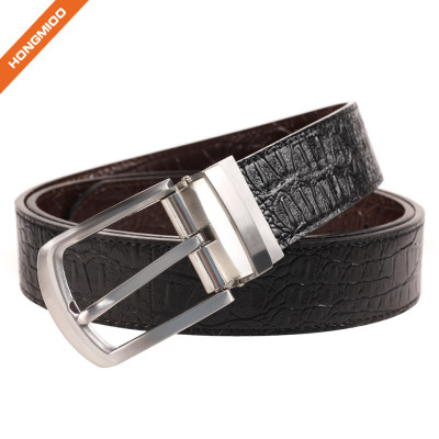 Genuine Leather Belt With Single Prong Rotated Buckle Adjustable Mens Waistband