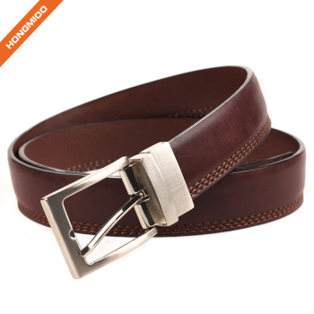 Innovative Design 3 Row Stitch Cowhide Leather Belt With Rotated Needle Buckle
