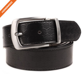 Classic Mens Genuine Leather Dress Belt Embossed Pattern Strap With Rotated Buckle
