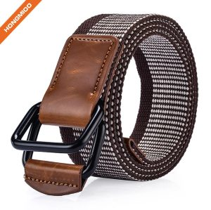 Top Sale Nylon Woven Elastic Leather Waist Belts For Men