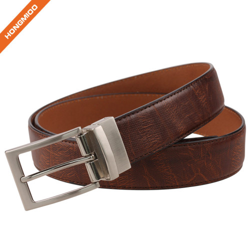 Men's Hand-Crafted Brown Reversible Split Leather Belt Embossed Stitch Strap