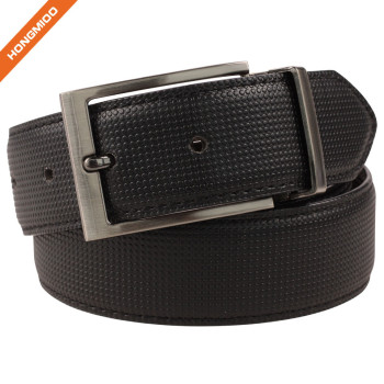 Men's Perforated Reversible Cowhide Leather Belt With Removable Buckle