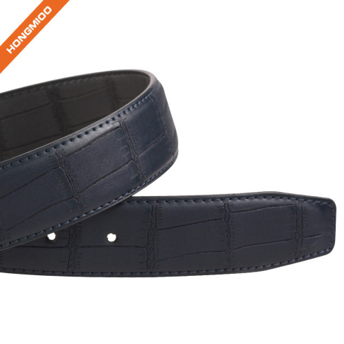 Men's Embossed Reversible Second Layer Leather Belt With Removable Buckle