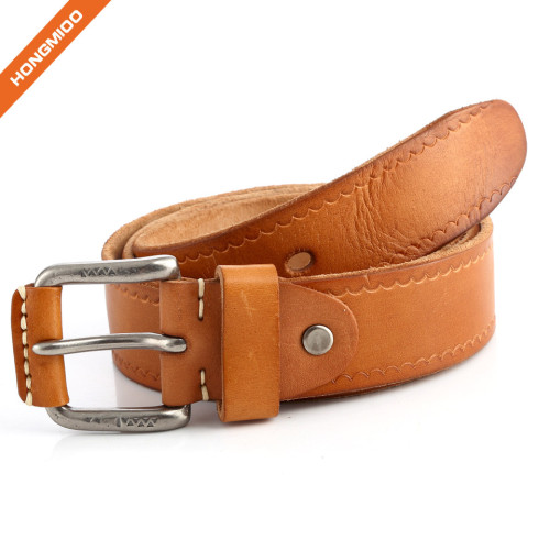 Imported Italy Cow Skin Full Grain Leather Belt With Zinc Alloy Pin Buckle