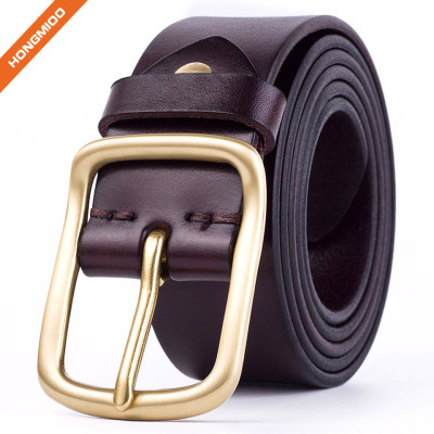Business Style Full Grain Leather Belt With Gold Color Buckle