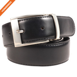 Men's Classic Dress Stitched Genuine Leather Uniform Pin Buckle Belt for Jeans