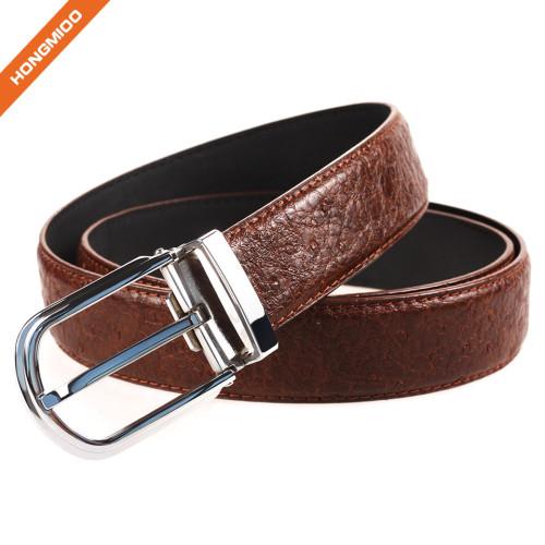 Men Genuine Leather Belt Black And Silver Single Prong Belt Buckle