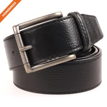 Men Dress Split Leather Embossed Pattern Belt Alloy Pin Buckle Waistband
