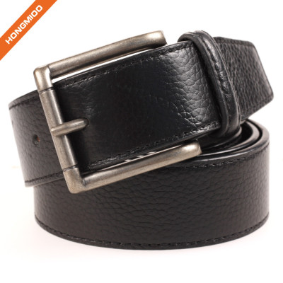 Men Dress Split Leather Embossed Pattern Belt Alloy Pin Buckle Waistband