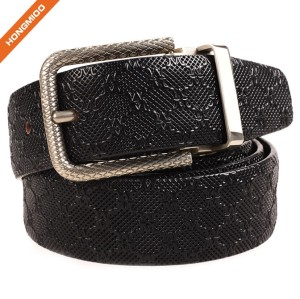 Gentlemen Retro Embossed Genuine Leather Strap Carved Buckle Belt