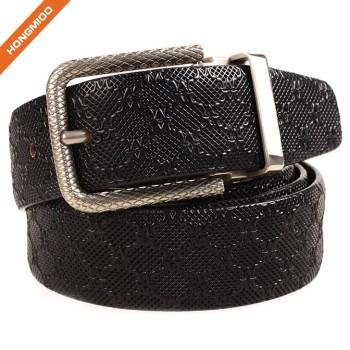 Gentlemen Retro Embossed Genuine Leather Strap Carved Buckle Belt