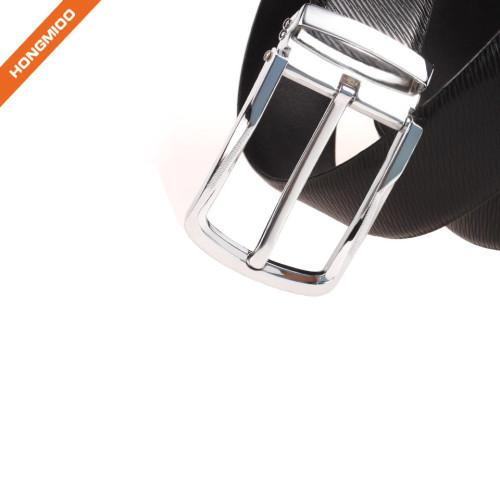 Men Plain Black Silver Nickle Single Prong Buckle Genuine Leather Belt Strap