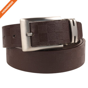 Hongmioo Custom Split Leather Plate Belt Shining Zinc Alloy Single Prong Buckle Strap