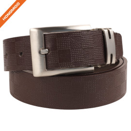 Hongmioo Custom Split Leather Plate Belt Shining Zinc Alloy Single Prong Buckle Strap