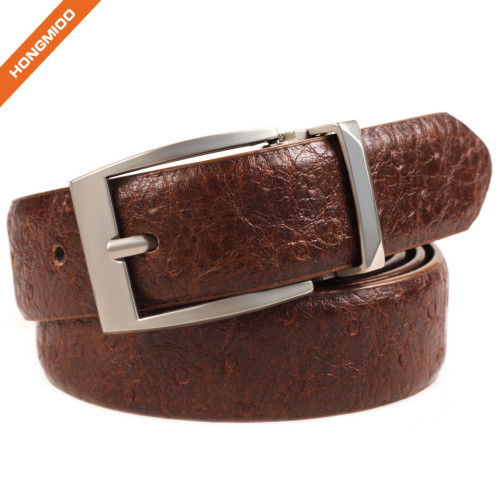 Retro Design Embossed Real Leather Belt Zinc Alloy Pin Buckle Strap