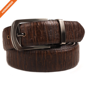 Hongmioo Men's Adjustable Dress Leather Belt With Single Prong Buckle Brown