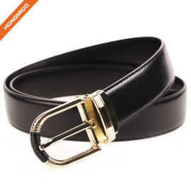 Gentleman Style Genuine Thick Leather Belt With Gold Single Prong Alloy Buckle