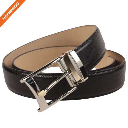 Hongmioo Two Sides Colours Embossed Pattern Genuine Leather 1.5 Inch Belt Black