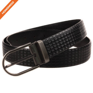 Men Thick Leather Belt Embossed Strap With Retro Brass Pin Buckle