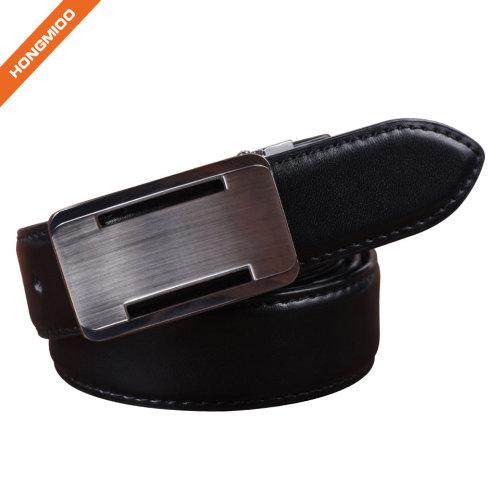 Italy Import Split Leather Metal Plaque Buckle Belt