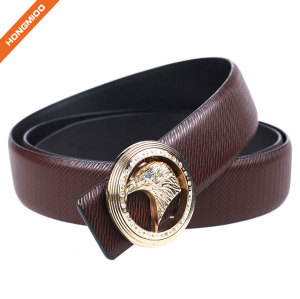 Factory Brown Split Leather Men Western Eagle Style Plate Buckle Belt
