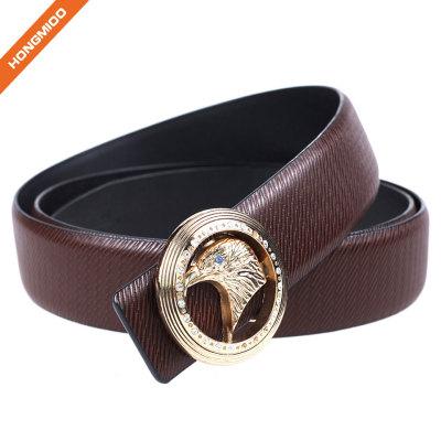 Factory Brown Split Leather Men Western Eagle Style Plate Buckle Belt