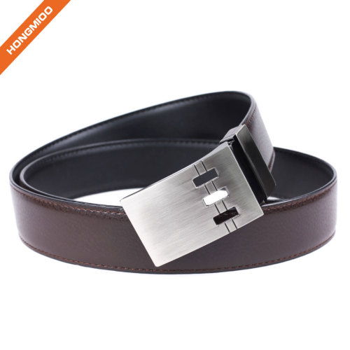 Simple Design Silver Plate Buckle Split Leather Belt Mens Waistband