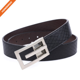 New Product Silver Plate Buckle Genuine Leather Belt for Men
