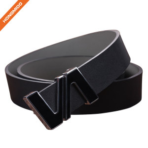 Leisure Split Leather Belts Removable Letter V Plate Buckle Waist Belt 1.5