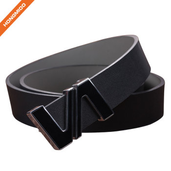 Leisure Split Leather Belts Removable Letter V Plate Buckle Waist Belt 1.5