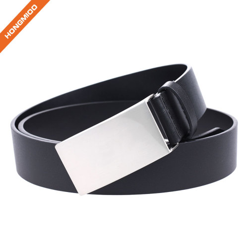 Mens Fashion Gift Black Genuine Leather Wide Belt with Silver Plaque Buckle